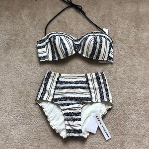 High waisted bikini bottom and top